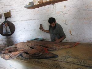 Ajrakh block printing in action