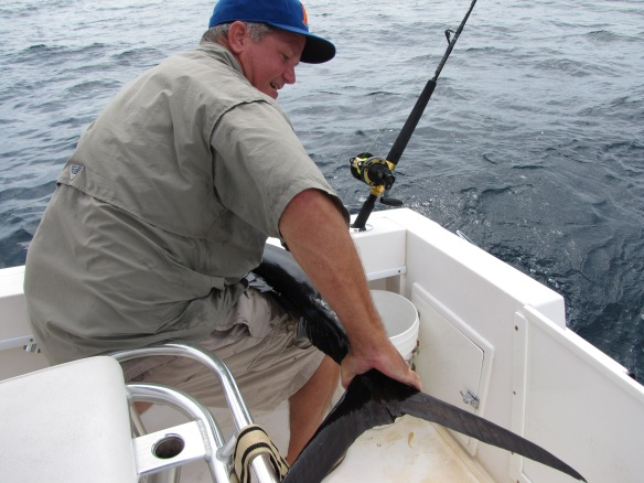 Offshore fishing with Jimmy in his boat.